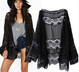 Wholesale 2015 Black Lace Long Sleeve Jackets Cheap Modest Outerwear Lace Coats Fashion New Arrive Elegant Sexy Hot Sale Summer Women Coats Jackets