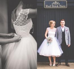 Wholesale Vintage s Style Polka Dotted Short Wedding Dresses Tea Length Little White Dresses Vestidos de Novia Beach Bridal Gowns