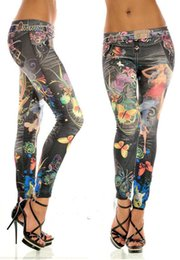 Wholesale Women s Clothing Leggings Women Sexy Tattoo Jean Look Legging Sport Leggins Punk Fitness Apparel Jeans Woman Pants Jean Imitation Legging