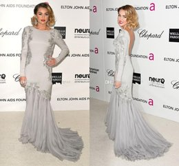 Wholesale Gorgeous Silver Mermaid Celebrity Dresses Backless Long Sleeve Chiffon Appliques Ruffles Court Train Evening Dress Sexy Prom Gowns