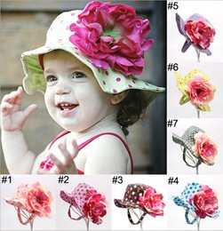 Wholesale 2015 Kids Hat Cartoon Bucket Girls Sun Hat Fashin Lovely Polka Dot Flowers Cap Children Minion Beanie Hats MC