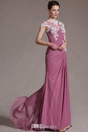 Wholesale Chiffon Mother of the Bride Dresses Appliques Pleats Capped Sleeves Mother Evening Gowns
