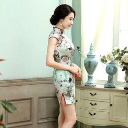 Wholesale New Sheath Chinese Style Women Dresses National Costume High Neck Short Sleeve With Print Satin Silk Dress