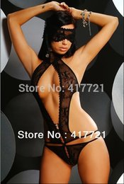 Wholesale Women Sexy Lingerie Nightwear Fashion Sexy Underwear ML6039 Ladies Black Lace One piece Sexy Teddies Lingerie Sets