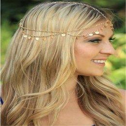 Wholesale 2015 Fashion Bohemian Tassel Chain Hair Band Runway Style Wave Shiny Piece Women Dance Hair Sequins Accessories Head Chain Jewelry