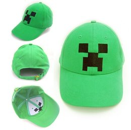 Wholesale 2014 Minecraft JJ Monster Creeper Toy Hat baseball hat Sun hat Peaked Cap Children s Caps