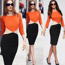 Wholesale 2015 Sale Arrival Womens Colorblock Tunic Business Casual Wear To Work Office Party Sheath Bodycon Pencil Dresses Robe infants and toddlers