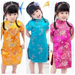 Wholesale Traditional Chinese Dress for Baby Girls Summer Skirt Chinese Performance Costume Tang Suit Chi pao Qipao Cheongsam Gift designs