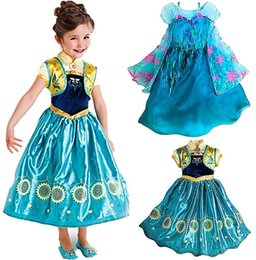 Wholesale Frozen fever Elsa Anna Dress in stock Summer Short Sleeve Flower Printed Formal Long Party Coplay girl Clothing Snow Queen Dressy J4463