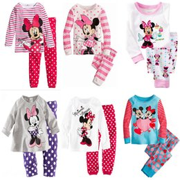 Wholesale Minnie Mickey Mouse Dot Leggings Baby Kids Girls Nightwear Outfits Pajamas Sleepwear DH