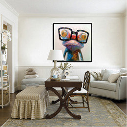 Hand Painted Hot Sell Low Price Wall Art Home Decoration Doctor Frog Living Room Decor Unique Gift Canvas Oil Painting