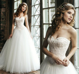 Wholesale 2015 Elegant Ball Gown Wedding Dresses Sweetheart Neck Lace Appliques Crystals Pearls Beaded Floor Length White Tulle Bridal Gowns
