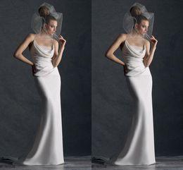 Wholesale Vestidos De Noiva Simple Wedding Dresses Unique Woman Sexy Sheath Spaghetti straps Floor Length With Lace Pleats Formal Bridal Gowns