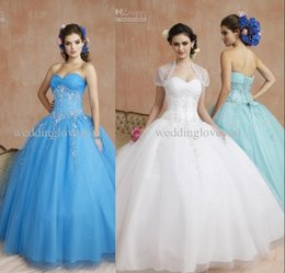 Wholesale 2015 New Arrival Ball Gown Sweetheart Sleeveless High Quality Beads Sequins Appliques Lace up Floor Length Tulle Quinceanera Dresses