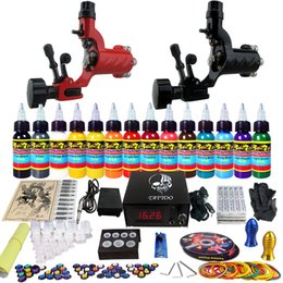 Wholesale Tattoo Supply Pro Machine Guns Tattoo Kit Inks Power Supply Needle Grips TK249 by DHL