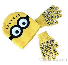 Wholesale Despicable Me Minions Spider man Knit Caps And Gloves New Cartoon Winter Knitted Kids Girls Boys Hats Gloves Children Christmas Gift