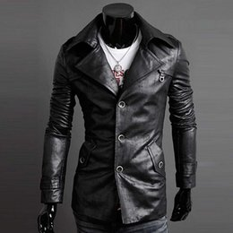 Discount Mens Single Breasted Leather Trench Coat | 2017 Mens ...