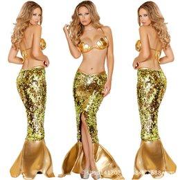 Wholesale Alto grado de sirena de lentejuelas traje tentación atractiva mujer establecidos Escalas de vestir de las mujeres atractivas de la ropa interior cosplay Disfraces pantalones bikini