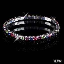 Wholesale 2015 New Arrival Elastic1 Row Multi stone Crystal Bangle Bridal Bracelets Party Prom Cocktail Evening Homecoming Graduation Jewelry In Stock