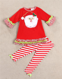 Wholesale Baby Girls Christmas set Red Snowman Lace Ruffled sleeves tunic leggings with bow outfit New Year