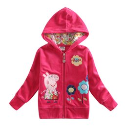 Wholesale Girls Jackets Children Outwear Cartoon Jackets Cute Pig Embroidery Kids Winter Clothing Fuchsia Floral Cotton Coat F4356