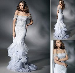 Wholesale Off The Shoulder Tulle And Lace Prom Dresses Kim Kardashian Celebrity Dresses Mermaid Style Full Length Evening Dresses