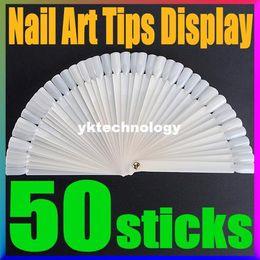 Wholesale False Nail Tips Fan Polish Gel Holder Display Milky Foldable Nails Art Practice Color Show Manicure Tools