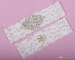 Wholesale Real Picture Full Crystals Bridal Garters for Bride Lace Wedding Garters White Ivory Cheap Wedding Leg Garters In Stock