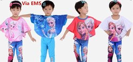 Wholesale 2015 Fashion Baby Kids Frozen Elsa Anna Bat Sleeve Tshirt Pants Sleepwear Set Colors Girls Homewear Cute Kids Batwing Pajamas Via Free EMS