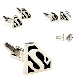 Wholesale Superman cufflinks men silver cufflink set shirt hot sell cuff link for mens wedding