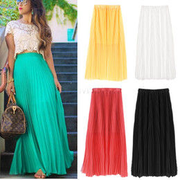 Polyester Long Pleated Skirts Sale Online | Polyester Long Pleated ...
