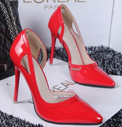 Wholesale Bridal shoes Wedding Shoes Patent Leather Stiletto Heel Party Prom Women Shoes Wedding Pumps Shoes Bridesmaid Shoes Red Silver Black Grey