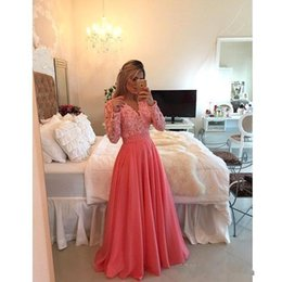 Wholesale Elegant Plus Size Lace Prom Dresses Long Sleeve Evening Gowns Real Photos Illusion Party Dresses With Pearls A line Formal Gowns