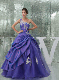 Wholesale Hot Purple Quinceanera Dresses Ball Gown One Shoulder Chiffon Tulle Long Elegant Debutante Ragazza Cheap Prom Masquerade Ball Gowns