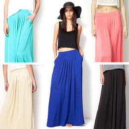 Wholesale 2015 New Womans Satin Long Skirt Elastic Waist Floor Length Skirts Female Bohemia rayon Pleated Beach Skirt With Pockets