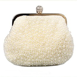 Wholesale Shinning Crystals Bridal Hand Bags Gorgeous Sparkling Wedding Accessory Beautiful Pearls Clutches Evenning Accessories
