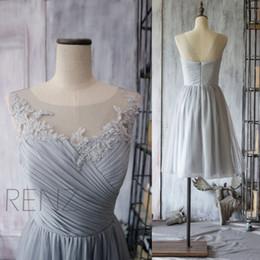 Wholesale 2015 Short Grey Bridesmaid Dress Chiffon Cocktail Dress A line Gray Prom Dress Lace Neck Formal dress tea length Under