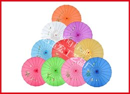 Wholesale 50pcs Children size Mini Traditional Chinese Umbrella Bamboo Frame Parasol hand painted designs Wooden Handle Bride Umbrella Colors