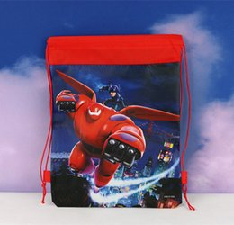 Wholesale Baby Cartoon Big Hero Drawstring Backpack Bag Mixed Designs Non woven Material kids School Bag