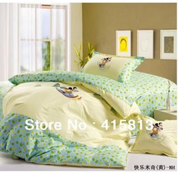 Wholesale cotton activity print baby child beding set quilt cover bedsheet pillowcase embroidery cartoon models
