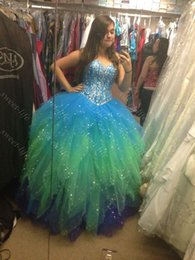 Wholesale 2015 Sexy Girls Quinceanera Dresses Sparking Sequin Ruffled Colorful Multi Color Lace Up Sweet Dress Debutante th Prom Dress Gown Cheap