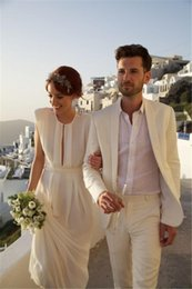 Wholesale Beach White Tuxedos Men Suits for Wedding Pieces Men Suits Custom Made Groom Wedding Suits Groom Tuxedos Best Man Suits Jacket Pants Vest