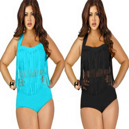 Wholesale 2015 Newest Plus Size Swimsuits Tankini Color Tassels Bikini High Waist Swimsuit Bathing Suit Sexy Swimming Suit Ladies