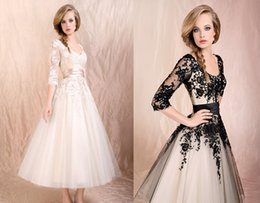 Wholesale In Stock New Style Lace White Black Lace Applique Evening Prom Party Cocktail Dresses Formal Ankle Length Scoop Sash A Line Dresses