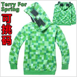 Wholesale 2015 AAA quality Minecraft Creeper size kid girl boy fleece coat warm jacket winter hoodies outwear thicken sweatshirts topB1516
