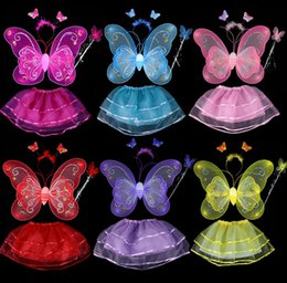 Wholesale Kid Girls Angel Wings Costume Fairy Butterfly Wing Set Wand Headband Colors Assorted Halloween butterfly Magic Wand Hair Band Skirt J4636 BJ