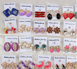Wholesale Korea Brand Crazy Sale Sterling Silver Earrings Ear Nail Wedding Stud Earring Crystal Head Jewelry Present for Girls Lady candy color