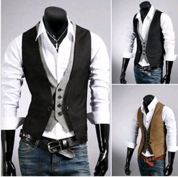 Wholesale Men s Casual Fashion V neck Double Layered Fit Vest Waistcoat Slim Jacket Tops DH04