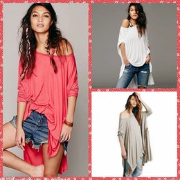 Wholesale Scoop Neck Long Sleeve High Low T Shirt Casual Simple Women Clothing Cheap Split Both Side Spring Summer For Ladies Online Sexy