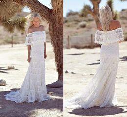 Wholesale Simple Bohemian Lace Boho Wedding Dresses Off The Shoulder Cheap Beach Bridal Dresses Sweep Train Custom Made Wedding Gowns